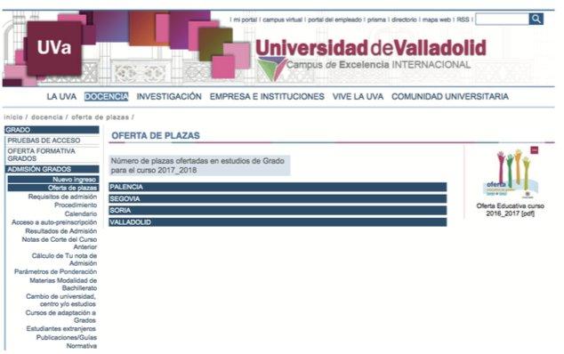 Admision universidad de Valladolid