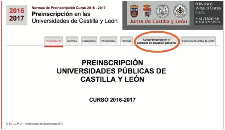 Preinscripcion universidad Valladolid UVA